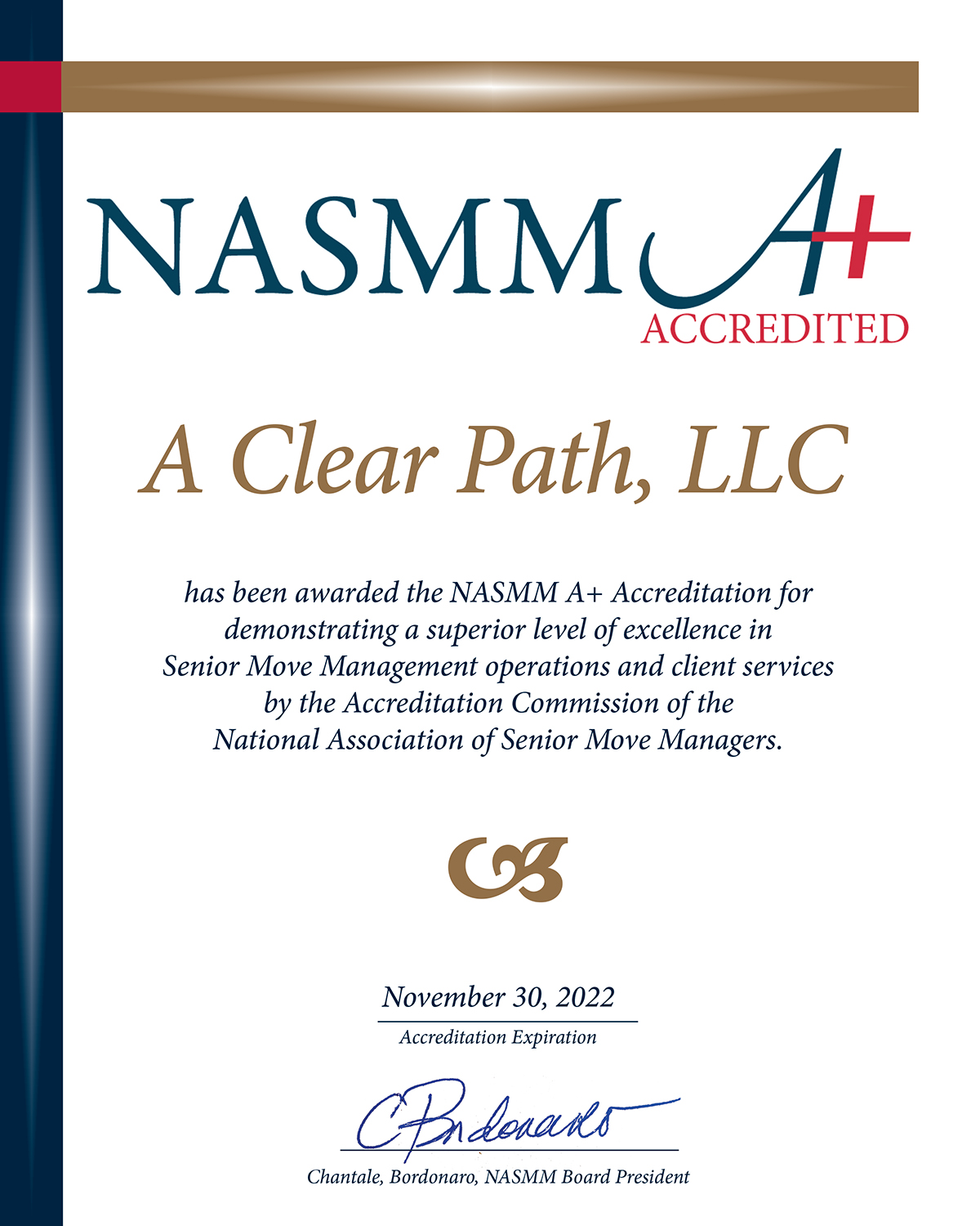NASMM A+ accreditation for demonstrating superior level of excellence in Sr. Move Management