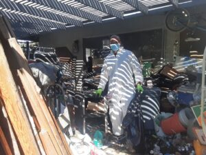 Clearing a hoarder's patio