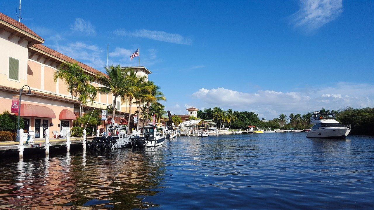 One place for seniors to move to is a Florida coastal city with waterfront houses and boats.